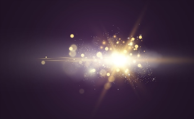 Beautiful golden vector illustration of a star on a translucent background with gold dust and glitte