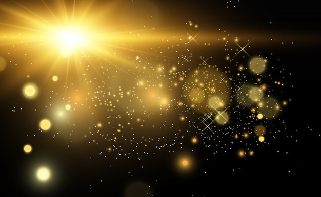 Beautiful golden vector illustration of a star on a translucent background with gold dust and glitters. a magnificent light base for your .