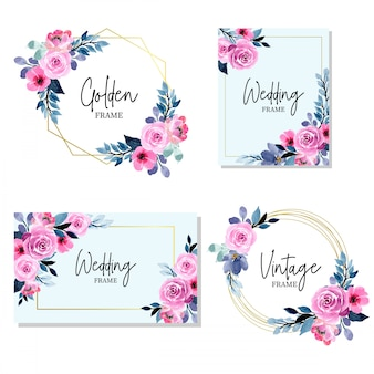 Beautiful golden wedding frame with floral watercolor collection