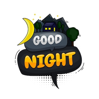 Beautiful good night. message poster comic speech bubble