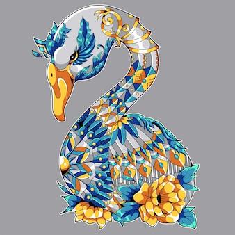 Красивый гусь, нарисованный в стиле дзентангл