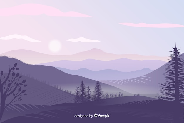 Beautiful gradient mountains landscape