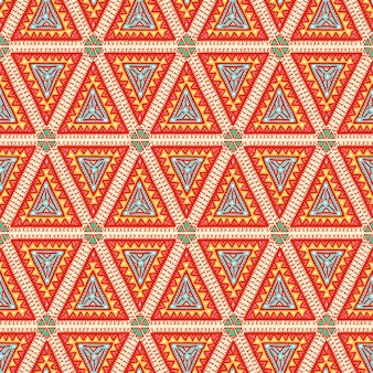 Beautiful graphic tribal color seamless pattern with orange triangles