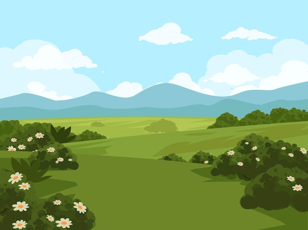 Красивый пейзаж поля травы с цветами
