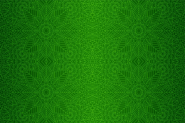 Beautiful green art with linear floral pattern