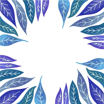 Beautiful green blue violet purple leaves, space for text in the middle, frame. Premium Vector
