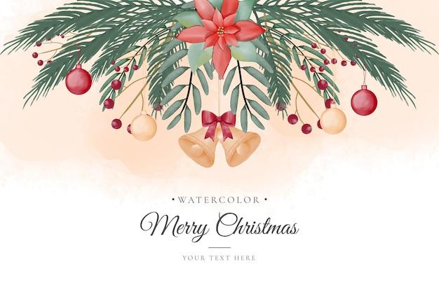 金色の装飾品と美しい緑のクリスマスの背景