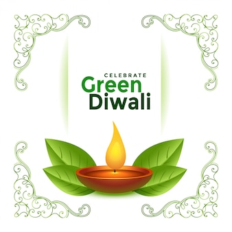 Beautiful green diwali festival  background