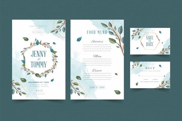 Beautiful green floral frame wedding invitation card template