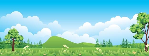 美しい緑の高地と田園風景のパノラマ。