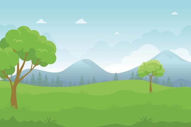 아름다운 녹색 언덕, 평면 디자인으로 만화 풍경