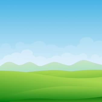 녹색 초원과 푸른 하늘과 아름다운 녹색 풍경