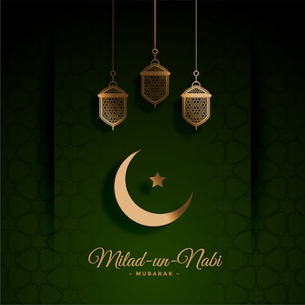 Beautiful green milad un nabi festival card