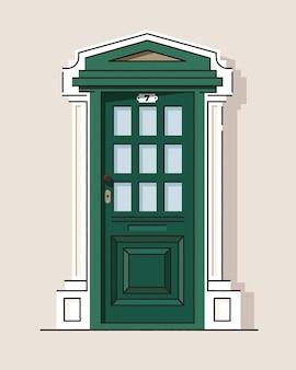 아름 다운 녹색 복고풍 빈티지 정문입니다. 집 외관. 집 입구. 컬러.