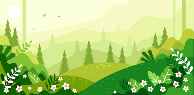 Beautiful green scenery illustration
