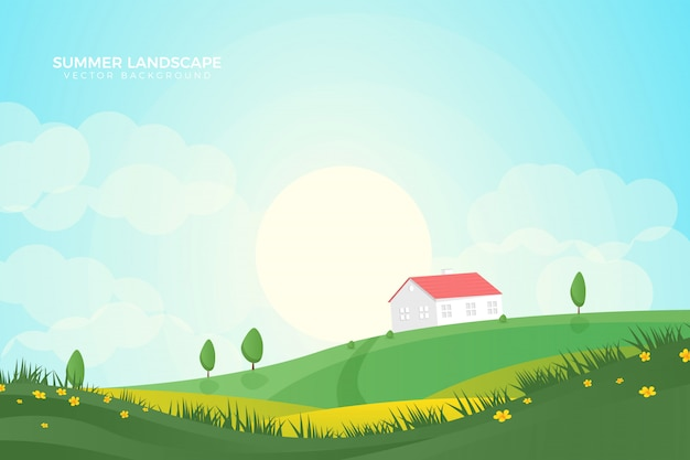 Beautiful green summer and autumn landscape background