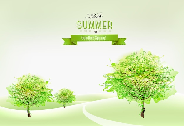 Beautiful green summer nature background. vector.