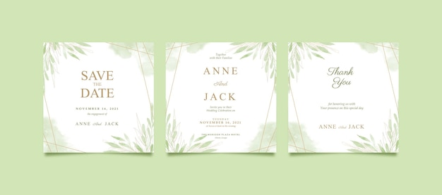 Красивый зеленый акварельный пост в instagram на свадьбу