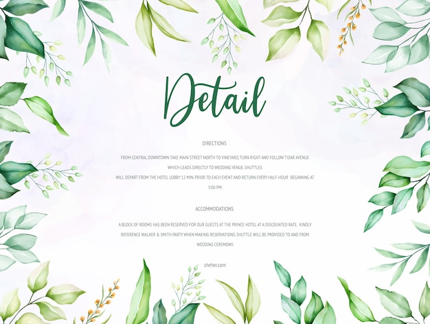 Beautiful green watercolor leaves wedding card template
