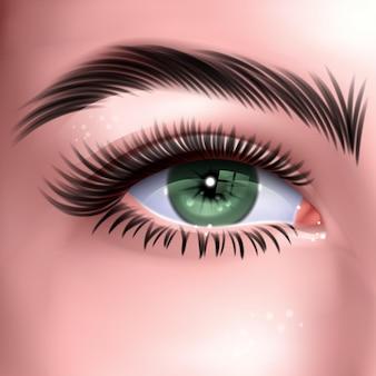 긴 속눈썹을 가진 아름 다운 녹색 여자의 눈