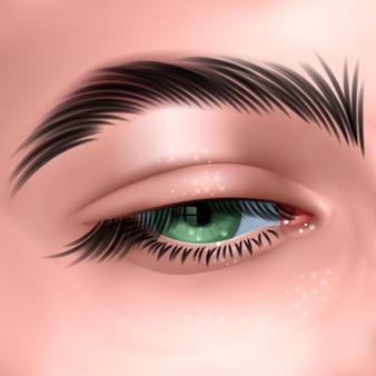 긴 속눈썹을 가진 아름다운 녹색 여자의 눈