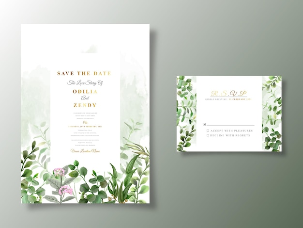 Beautiful and greenery floral wedding invitation card template