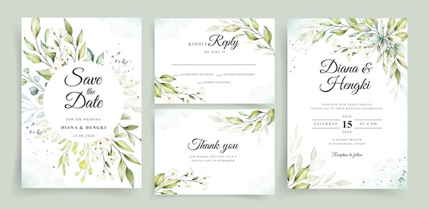 Beautiful greenery watercolor on wedding invitation card template