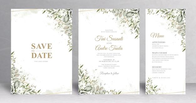 아름 다운 녹지 웨딩 카드 서식 파일