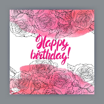 バラ、水彩画のストロークとテキストで美しいグリーティングバースデーカード