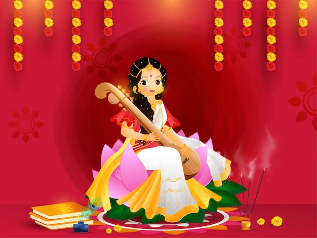 Beautiful greeting card design with goddess saraswati character