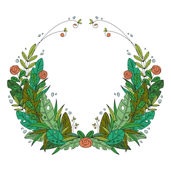 Beautiful greeting card with floral cartoon wreath.