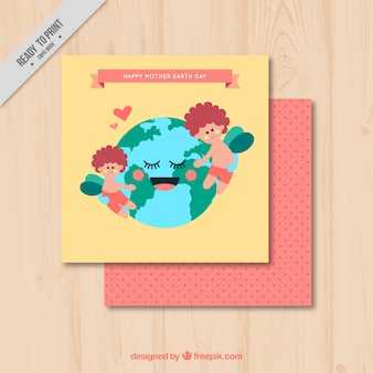 Beautiful greeting card with planet earth embracing children