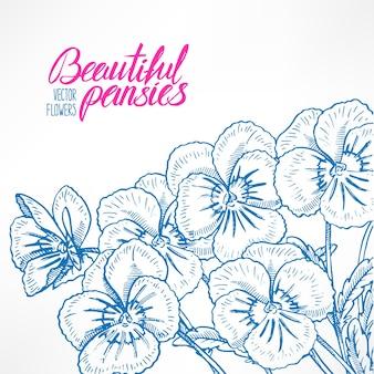 きれいな青いパンジーとテキストの場所が付いた美しいグリーティングカード。手描きイラスト