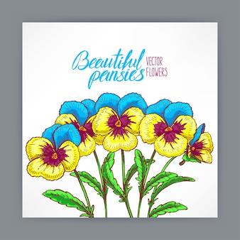 예쁜 팬지와 텍스트를위한 아름다운 인사말 카드