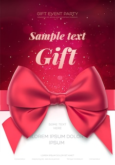 Beautiful greeting card with red bow on white. valentine's day card.