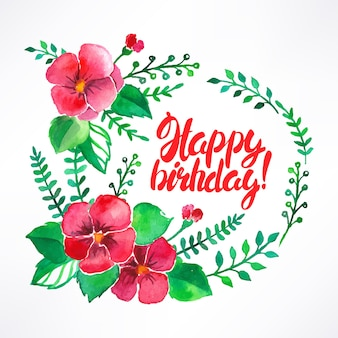 水彩画の花と誕生日おめでとうと美しいグリーティングカード