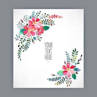 水彩花とテキストの場所と美しいグリーティングカード