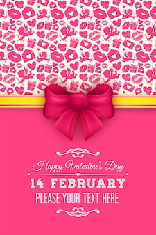 Beautiful greeting cards with red bows for valentines day