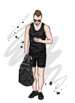 세련된 여름 옷을 입은 아름다운 남자