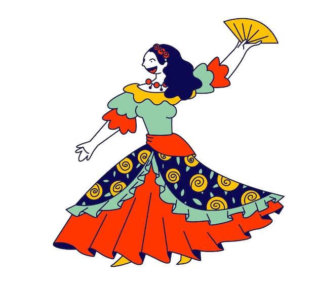 Красивая цыганка в длинном платье танцует с веером в руках и поет песню. мультфильм плоский иллюстрация
