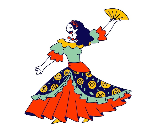 Beautiful gypsy girl in long dress dancing with fan in hands and singing song. cartoon flat illustration