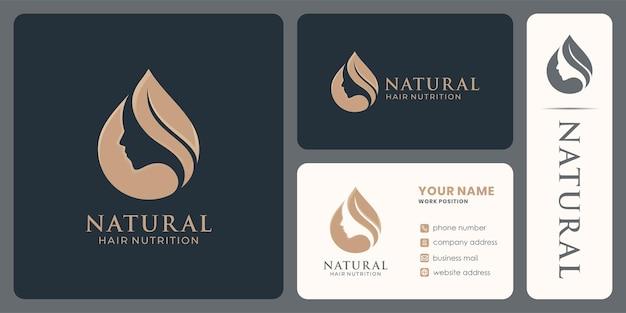 아름다운 모발 영양 로고는 천연 제품이나 화장품을 디자인합니다.
