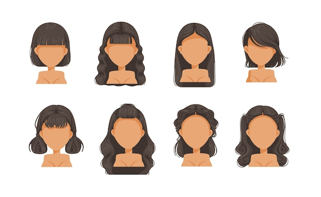 美しい髪型黒髪の女性セット。