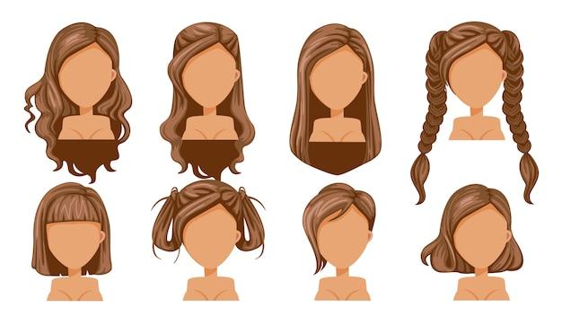 Красивая прическа каштановые волосы женщина современной моды для ассортимента.