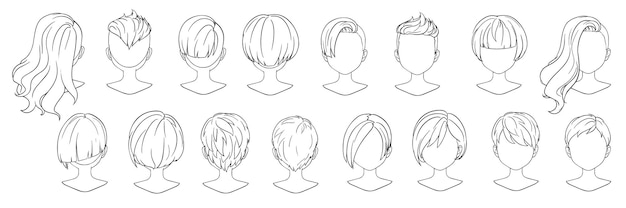 Beautiful hairstyle woman modern fashion for assortment. short hair, curly hair salon hairstyles and trendy haircut vector icon.
