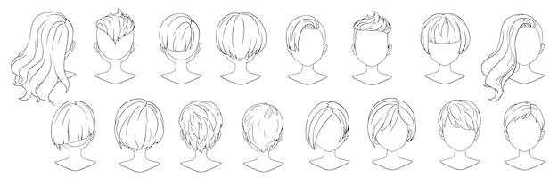 구색에 대 한 아름 다운 헤어 스타일 여자 현대 패션입니다. 짧은 머리, 곱슬 헤어 살롱 헤어 스타일 및 유행 헤어 스타일 벡터 아이콘.