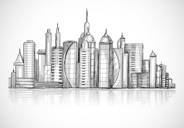 Красивая рука рисовать эскиз горизонта города