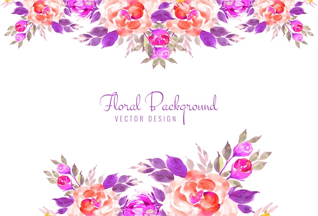 Beautiful hand draw decorative floral wedding card background