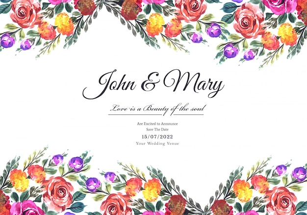 Beautiful hand draw floral wedding card template