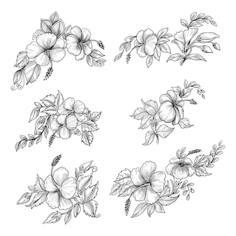 Beautiful hand draw sketch floral set design